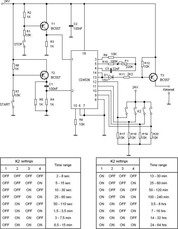Időzítő kapcsolás áramkör